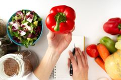 Vegetable diet nutrition and medication concept. Nutritionist of. Fers healthy vegetables diet royalty free stock photo