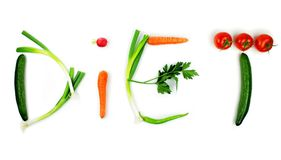 Vegetable  diet  text. Isolated on white background Stock Image