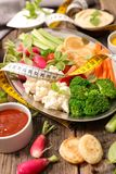Vegetable and dip. Close up on vegetable and dip Stock Images