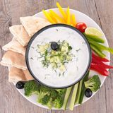 Vegetable and dip Stock Image