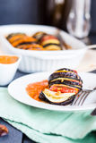 Vegetable dish ratatouille sauce in white plate, vegan Royalty Free Stock Images