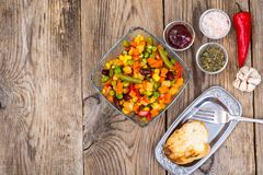 Vegetable dish with red beans in glass bowl. Studio Photo Royalty Free Stock Image