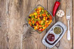 Vegetable dish with red beans in glass bowl. Studio Photo Royalty Free Stock Photos