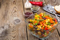 Vegetable dish with red beans in glass bowl. Studio Photo Stock Image