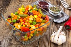 Vegetable dish with red beans in glass bowl. Studio Photo Stock Photos