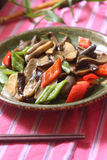 Vegetable dishes. Completely vegetarian vegetable dishes Asia, China Raw Mushroom fungus royalty free stock images