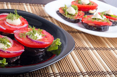 Vegetable dishes of stewed eggplant and fresh red tomato close-u Royalty Free Stock Photography