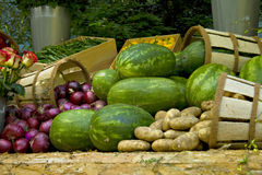 Vegetable display at market Stock Photography