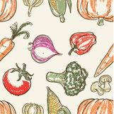 Vegetable doodle pattern and chalk colors. PRINT DOODLE VECTOR OR PATTERN Stock Photo
