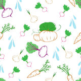 Vegetable doodle pattern Stock Photos