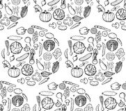 Vegetable Doodle Seamless Pattern Stock Photos