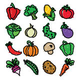 Vegetable Doodles Royalty Free Stock Photos