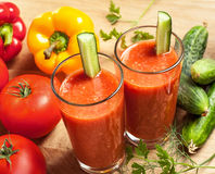 Vegetable drink. Healthy drink, vegetable juice, studio shot Stock Photo