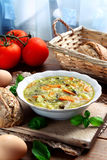 Vegetable egg soup. Bowl of home made egg soup with vegetables Royalty Free Stock Photo