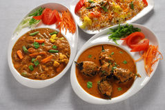 Vegetable & eggplant curry with rice Royalty Free Stock Photography