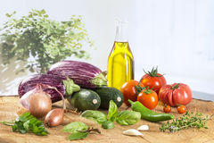 Vegetable eggplant, squash, tomato, zucchini ratatouille ingredients Stock Images