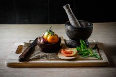 Vegetable and equipment cooking. Still life of vegetable and equipment cooking Stock Photos