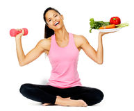 Vegetable exercise woman stock photography