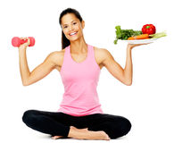 Vegetable exercise woman Royalty Free Stock Photos