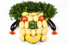 Vegetable Face. Arrangement of vegetables, representing an imitation of a human face Royalty Free Stock Photo