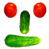 Vegetable Face. Vegetables Arranged As A Human Face On A White Background Stock Images