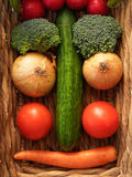 Vegetable Face. Funny Vegetable Face in a Basket stock photo