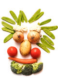 Vegetable Face. Funny Vegetable Face on a white background stock photos