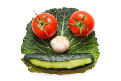 Vegetable face made of two tomatoes, garlic and cucumber on green leaf. Isolated on white background stock photography