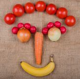 Vegetable face photographed on a Jute fabric a vegetable market.  royalty free stock photography