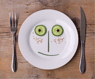 Vegetable Face on Plate - Male, Happy Royalty Free Stock Photography