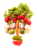 Vegetable Face. On a white background stock image