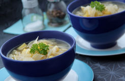 Vegetable fennel soup with onion, garlic and potatoes. Fennel soup with potatoes, onion and garlic served in blue bowls. Closeup wiev Royalty Free Stock Photography