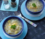 Vegetable fennel soup with onion, garlic and potatoes. Fennel soup with potatoes, onion and garlic served in blue bowls. Top wiev Royalty Free Stock Image