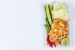 Vegetable festival as spicy papaya salad with mixed vegetable call 'Som Tum J' . Have text space on left. Vegetable festival ,spicy papaya salad as lentils stock photo