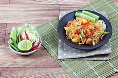 Vegetable festival as spicy papaya salad with mixed vegetable call 'Som Tum J' . Vegetable festival ,spicy papaya salad as lentils,cucumber,cashew nuts,ginko royalty free stock photo