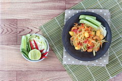 Vegetable festival as spicy papaya salad with mixed vegetable call 'Som Tum J' . Vegetable festival ,spicy papaya salad as lentils,cucumber,cashew nuts,ginko stock image