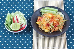 "Vegetable festival as  spicy papaya salad with mixed vegetable call ""Som Tum J"" is organic food served. Vegetable festival ,spicy papaya salad as Stock Photo"