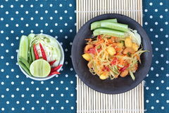 "Vegetable festival as  spicy papaya salad with mixed vegetable call ""Som Tum J"" is organic food served. Vegetable festival ,spicy papaya salad as Stock Photos"
