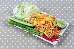 "Vegetable festival as  spicy papaya salad with mixed vegetable call ""Som Tum J"" is organic food served. Vegetable festival ,spicy papaya salad as Royalty Free Stock Photos"