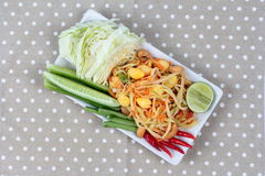 "Vegetable festival as  spicy papaya salad with mixed vegetable call ""Som Tum J"" is organic food served. Vegetable festival ,spicy papaya salad as Royalty Free Stock Images"