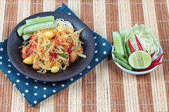 "Vegetable festival as  spicy papaya salad with mixed vegetable call ""Som Tum J"" is organic food served. Vegetable festival ,spicy papaya salad as Royalty Free Stock Photography"