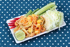 "Vegetable festival as  spicy papaya salad with mixed vegetable call ""Som Tum J"" is organic food served. Vegetable festival ,spicy papaya salad as Royalty Free Stock Image"