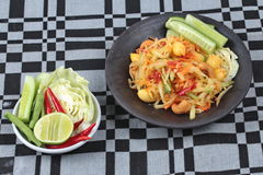 "Vegetable festival as  spicy papaya salad with mixed vegetable call ""Som Tum J"" is organic food served. Vegetable festival ,spicy papaya salad as Stock Image"