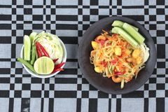 "Vegetable festival as  spicy papaya salad with mixed vegetable call ""Som Tum J"" is organic food served. Vegetable festival ,spicy papaya salad as Stock Images"