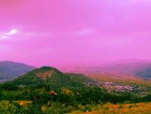 Wonderful highland with pastel background. royalty free stock photography