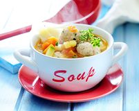 Vegetable and fish soup with fish balls. royalty free stock images