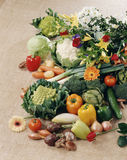 Vegetable and flower composition Royalty Free Stock Photos