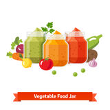 Vegetable food jars. Baby puree Stock Photography
