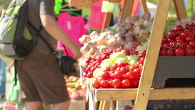Vegetable food stand stock video footage