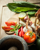 Vegetable of food for tom yum Stock Photos